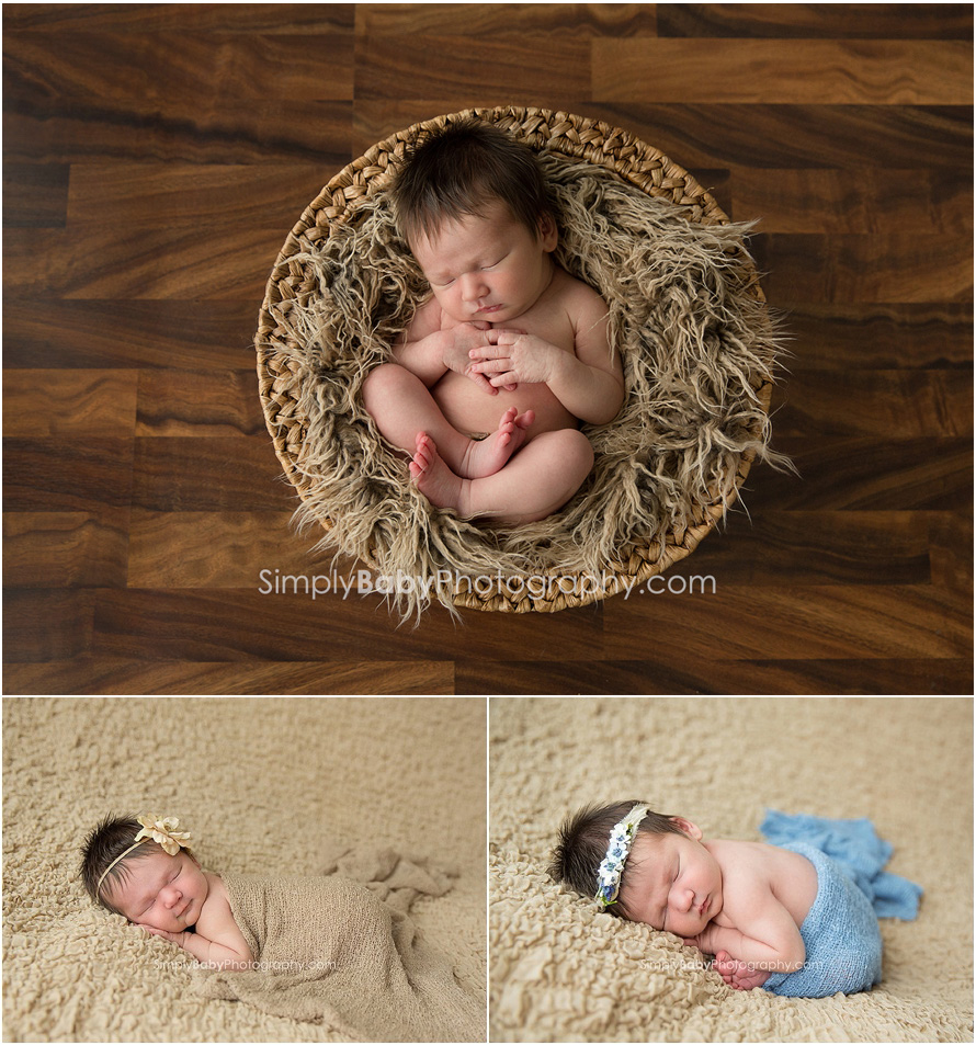 Natural newborn portraits in studio in basket and on blanket